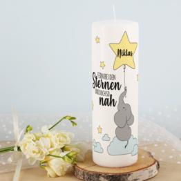 Kerze ´´Fern bei den Sternen´´ mit Name des Kindes