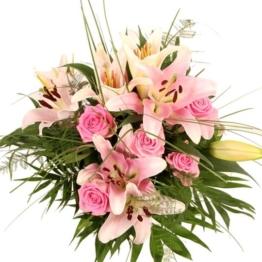 Lilien Rosen Strauß in Rosa mit / ohne Trauerkarte