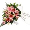 Premium-Trauerstrauß / Grabstrauß Rosa mit Lilien u. Nelken mit Schleife