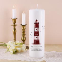 Trauerkerze - Leuchtturm - mit Name und Datum