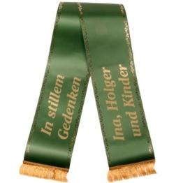 Trauerschleife in Grün mit Golddruck mit persönlichem Text