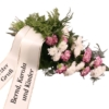 Trauerstrauß in Rosa-Lila-Weiß mit Chrysanthemen und Nelken mit Trauerschleife