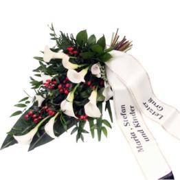 Trauerstrauß  Weiß-Rot mit Calla mit Schleife