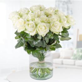 20, 25, 30, 40, 50 Weiße Rosen - Premium-Rosen Avalanche