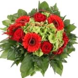 Blumenstrauß Rot-Grün Hortensien Special