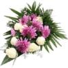 Trauerstrauß/Grabstrauß Lila/Weiß mit Rosen und Chrysanthemen