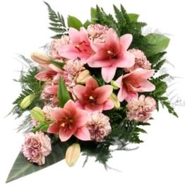 Trauerstrauß Rosa / Altrosa mit Lilien u. Nelken ohne Schleife