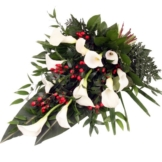 Trauerstrauß Weiß-Rot mit Calla - der exklusive Trauer-Blumen strauß mit Calla