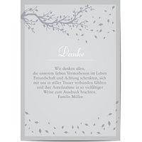 Dankeskarten Trauer, glänzendes feinstpapier, standard umschläge gestalten, Baum, grau, A5, flach, Optimalprint