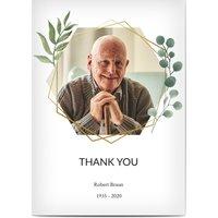 Dankeskarten Trauer, glänzendes feinstpapier, standard umschläge gestalten, Fotokarte (1 Foto), foliage, Frisch, Blätter, A5, flach, Optimalprint