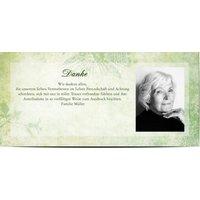 Dankeskarten Trauer, glänzendes feinstpapier, standard umschläge gestalten, Fotokarte (1 Foto), grün, Klassisch, Panorama DL, flach, Optimalprint