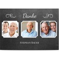 Danksagungskarten Trauer, glänzendes feinstpapier, standard umschläge gestalten, 3 Fotos, 50, Beschriftung, schwarz, weiß, A5, flach, Optimalprint