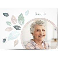 Trauerdanksagungen, glänzendes feinstpapier, standard umschläge gestalten, Fotokarte (1 Foto), grün, rosa, weiß, A6, flach, Optimalprint