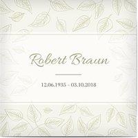 Trauerkarten Danke, glänzendes feinstpapier, standard umschläge gestalten, Blatt, Blätter, weißer Rahmen, blau, quadratisch, flach, Optimalprint