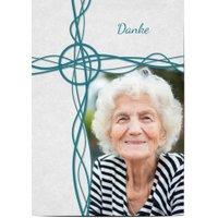 Trauerkarten Danke, glänzendes feinstpapier, standard umschläge gestalten, Fotokarte (1 Foto), blau, A6, flach, Optimalprint