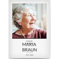 Trauerkarten Danke, glänzendes feinstpapier, standard umschläge gestalten, Fotokarte (1 Foto), Rahmen, minimal, Frau, weiß, A6, flach, Optimalprint