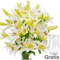 10 weiße Lilien im Bund