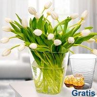 30 weiße Tulpen im Bund