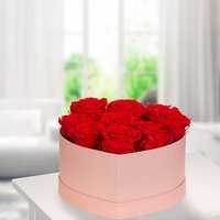 9 rote haltbare Rosen in rosa Herz-Box