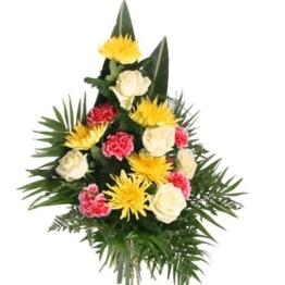"""Grabstrauß """"Letzter Gruß"""" mit Nelken, Rosen und Chrysanthemen"""