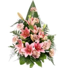 Grabstrauß Rosa / Altrosa mit Lilien ohne Schleife