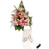 Grabstrauß Rosa mit Lilien mit Schleife