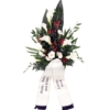 Grabstrauß Weiß-Rot mit Calla mit Schleife