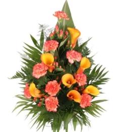Premium-Grabstrauß Orange mit Calla und Nelken