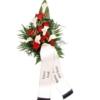 Premium-Trauerstrauß / Grabstrauß Rot/Weiß mit Rosen und Calla mit Trauerschleife / Grabschleife