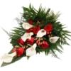 Premium-Trauerstrauß Rot/Weiß mit Rosen und Calla