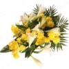 Trauerstrauß Abschied in Gelb-Weiß mit Chrysanthemen und Lilien und Trauerkarte