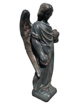 Bronze Optik Steinengel Steinfigur Gartenfigur Grabengel Trauender Engel 72KG