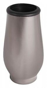 Dunkle Grabvase aus Edelstahl  Grab Vase mit Einsatz / Grabschmuck