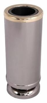 Dunkle Grabvase mit Goldrand Vase mit Einsatz Edelstahl Grabschmuck