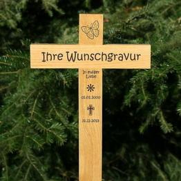 Grabkreuz Holzkreuz Unfallkreuz Straßenkreuz mit Gravur Beschriftung 50x20cm