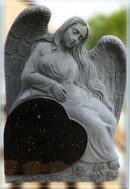 Grabstein,Granit Grabstein mit sitzendem Engel, 50x14x75cm, Black Galaxy, NEU!!