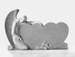 Granit Grabstein, Doppelherz mit einem Engel , China grau, 130x20x85cm,NEU!!