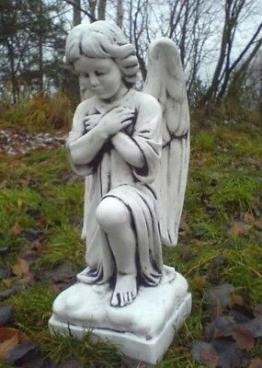 """Statue, Steinguss """"Engel kniend"""" Grabengel 53 cm Steinfiguren, Gartendekoration"""