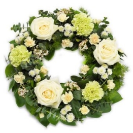 Eleganter Trauerkranz (mit Chrysantheme, Rosen)