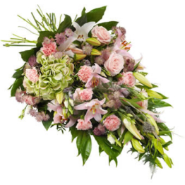 Rosa Trauerstrauß (mit Lilie, Rosen)