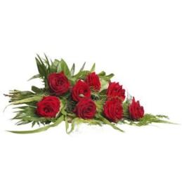 Roter Trauerstrauß (mit Rosen)
