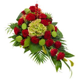 Rotes Trauergesteck (mit Rosen)