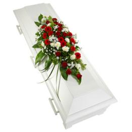 Sargauflage in Rot und Weiß (mit Rosen)