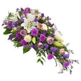 Trauergesteck in Lila und Weiß (mit Rosen)