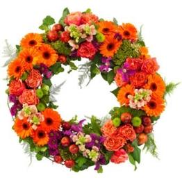 Trauerkranz in Orange und Lila (mit Rosen)