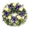 Trauerkranz in Weiß und Violett (mit Rosen)