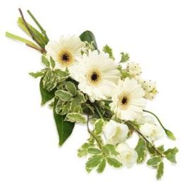 Weißer Trauer-Handstrauß (mit Eustoma )