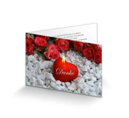 Dankeskarte Trauer Leuchtendes Herz Rot