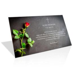 Dankeskarte Trauer Rote Rose