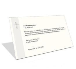Danksagung Beerdigung  Kreuz Trauerrand Beige